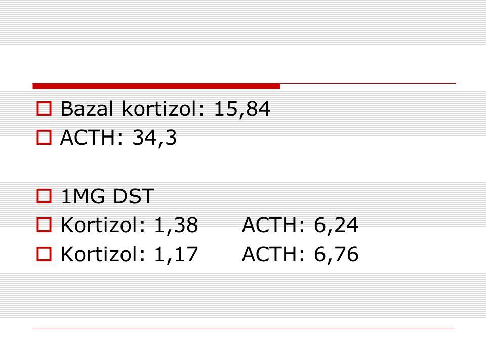Bazal kortizol: 15,84 ACTH: 34,3. 1MG DST. Kortizol: 1,38 ACTH: 6,24.