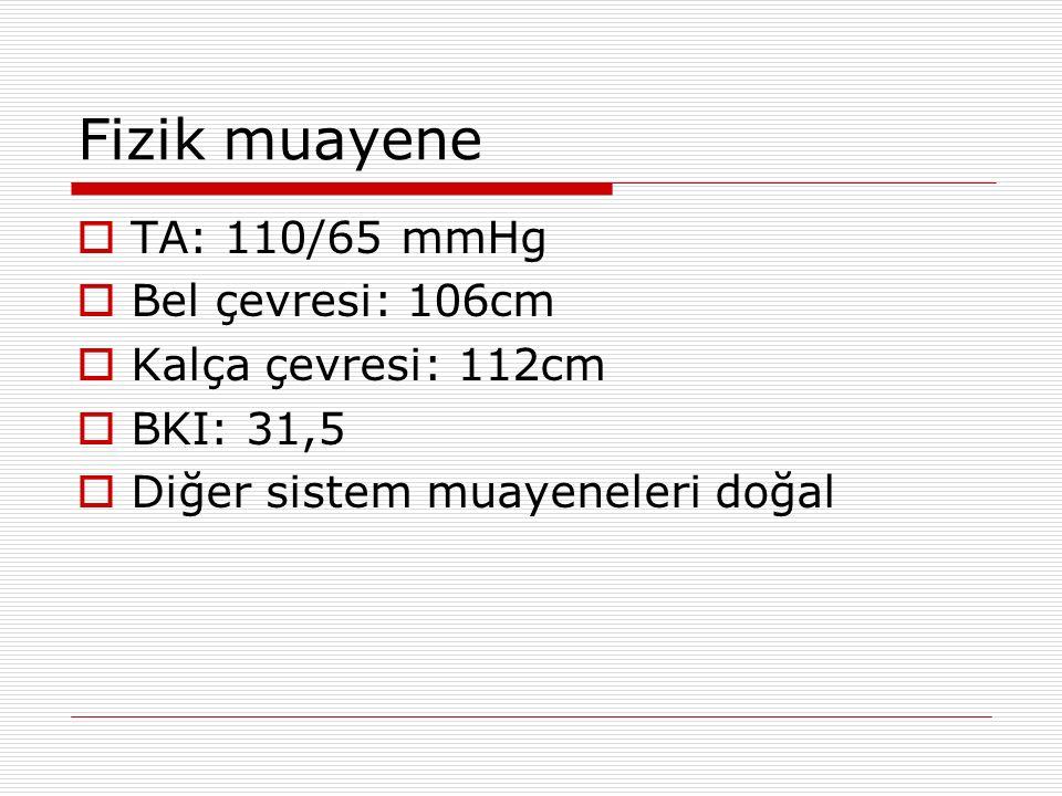 Fizik muayene TA: 110/65 mmHg Bel çevresi: 106cm Kalça çevresi: 112cm