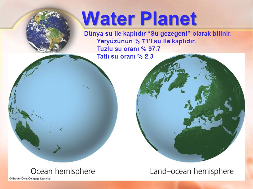 Water Planet Dünya su ile kaplıdır Su gezegeni olarak bilinir.