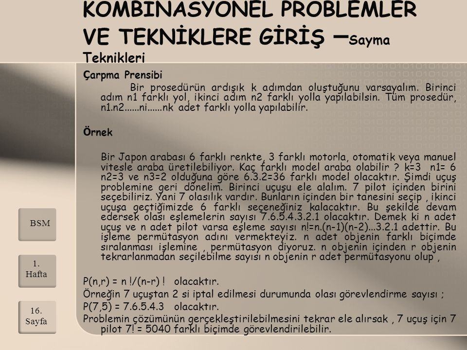 KOMBİNASYONEL PROBLEMLER VE TEKNİKLERE GİRİŞ –Sayma Teknikleri