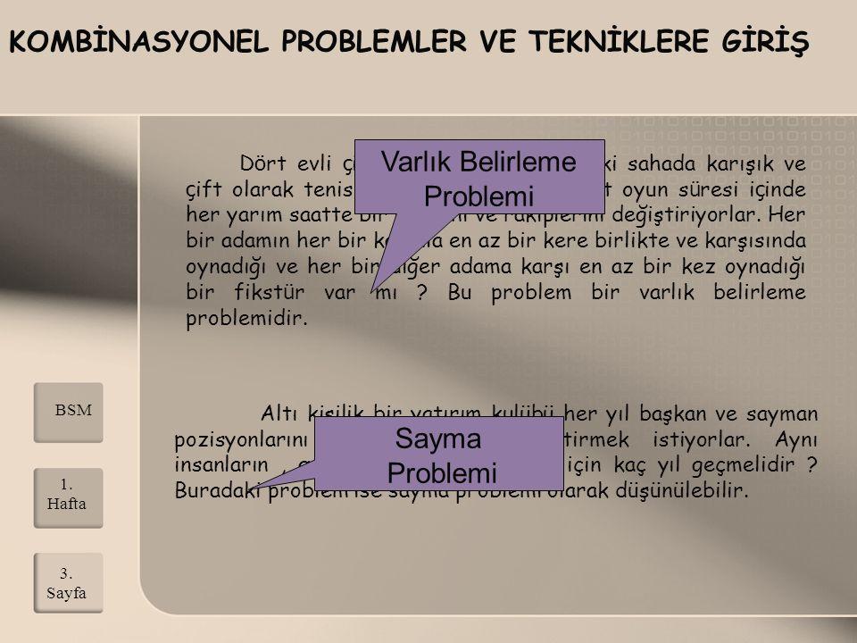 KOMBİNASYONEL PROBLEMLER VE TEKNİKLERE GİRİŞ