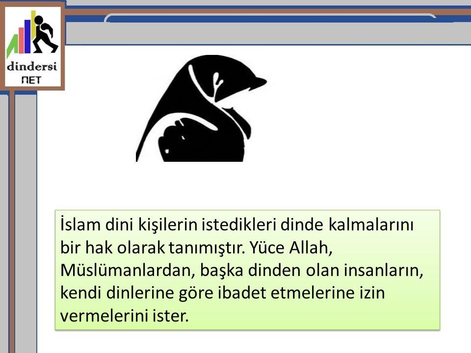 İslam dini kişilerin istedikleri dinde kalmalarını bir hak olarak tanımıştır.