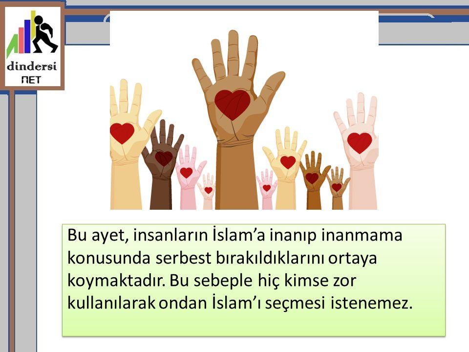 Bu ayet, insanların İslam'a inanıp inanmama konusunda serbest bırakıldıklarını ortaya koymaktadır.