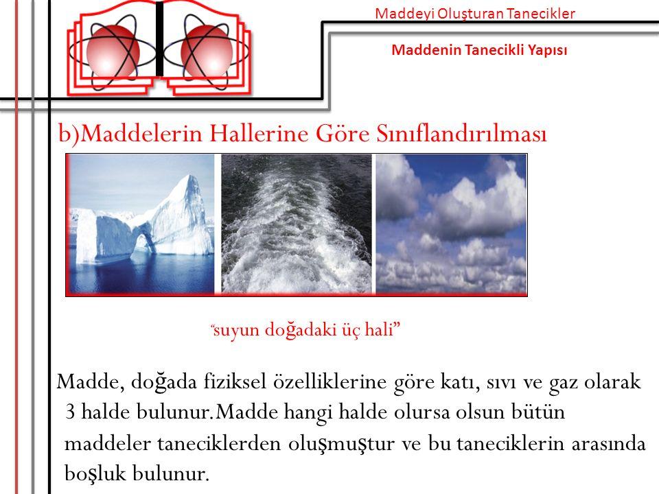 b)Maddelerin Hallerine Göre Sınıflandırılması