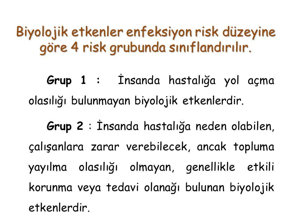 Biyolojik etkenler enfeksiyon risk düzeyine göre 4 risk grubunda sınıflandırılır.