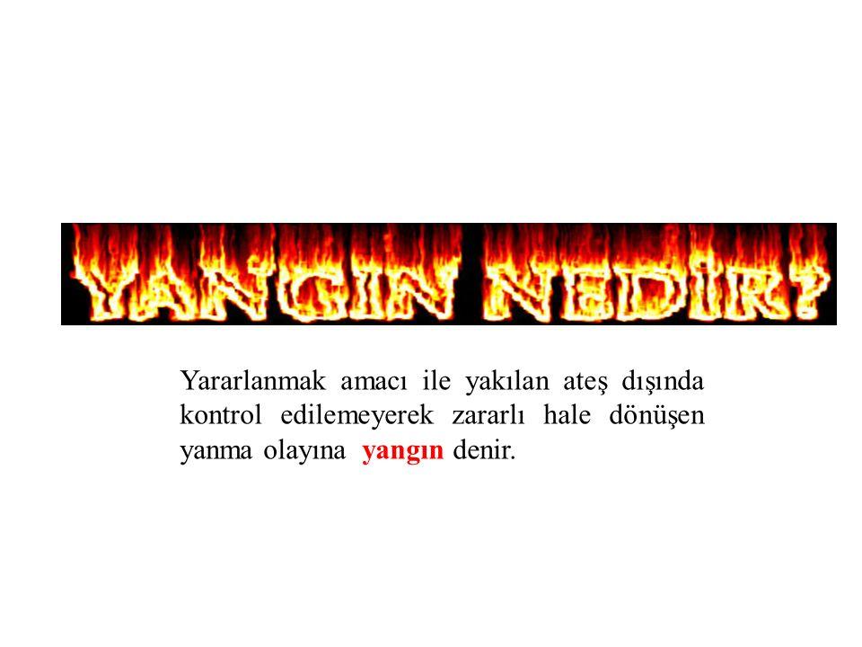 Yararlanmak amacı ile yakılan ateş dışında kontrol edilemeyerek zararlı hale dönüşen yanma olayına yangın denir.