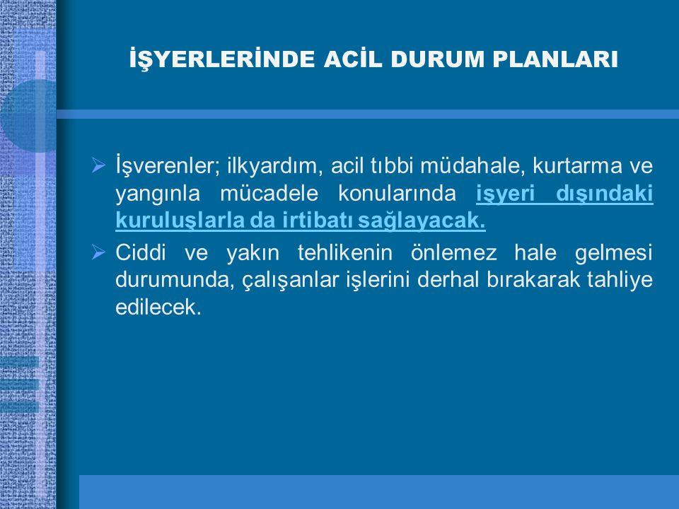 İŞYERLERİNDE ACİL DURUM PLANLARI