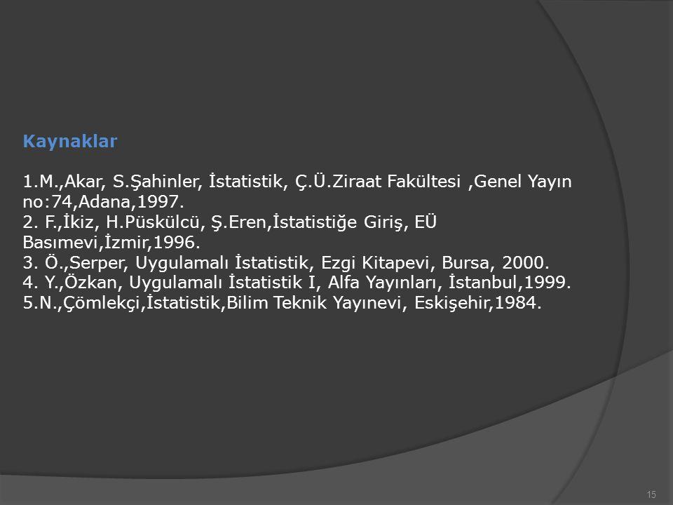 Kaynaklar 1.M.,Akar, S.Şahinler, İstatistik, Ç.Ü.Ziraat Fakültesi ,Genel Yayın no:74,Adana,1997.