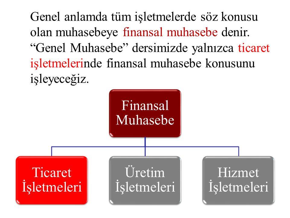 Genel anlamda tüm işletmelerde söz konusu olan muhasebeye finansal muhasebe denir. Genel Muhasebe dersimizde yalnızca ticaret işletmelerinde finansal muhasebe konusunu işleyeceğiz.