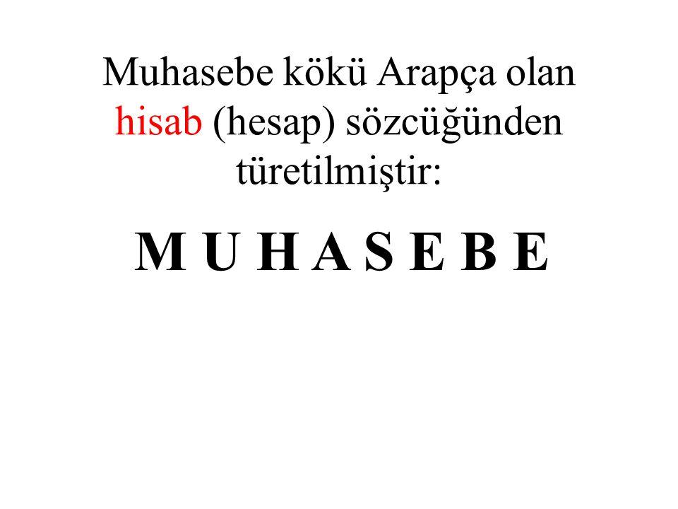 Muhasebe kökü Arapça olan hisab (hesap) sözcüğünden türetilmiştir: