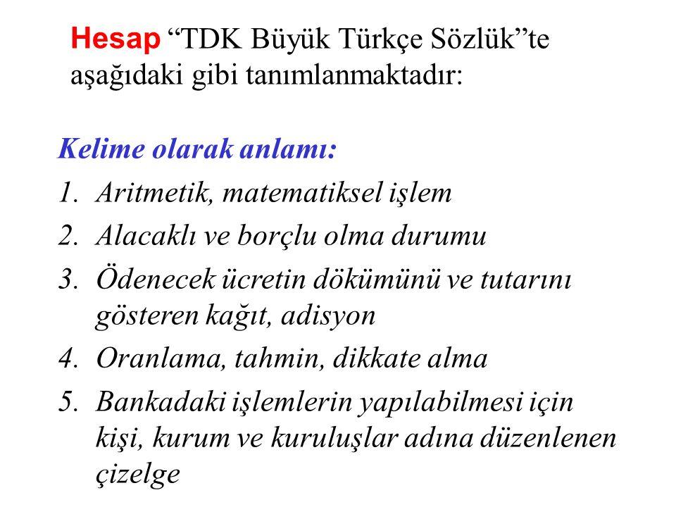 Hesap TDK Büyük Türkçe Sözlük te aşağıdaki gibi tanımlanmaktadır:
