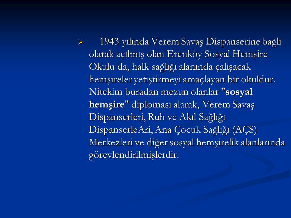 1943 yılında Verem Savaş Dispanserine bağlı olarak açılmış olan Erenköy Sosyal Hemşire Okulu da, halk sağlığı alanında çalışacak hemşireler yetiştirmeyi amaçlayan bir okuldur.