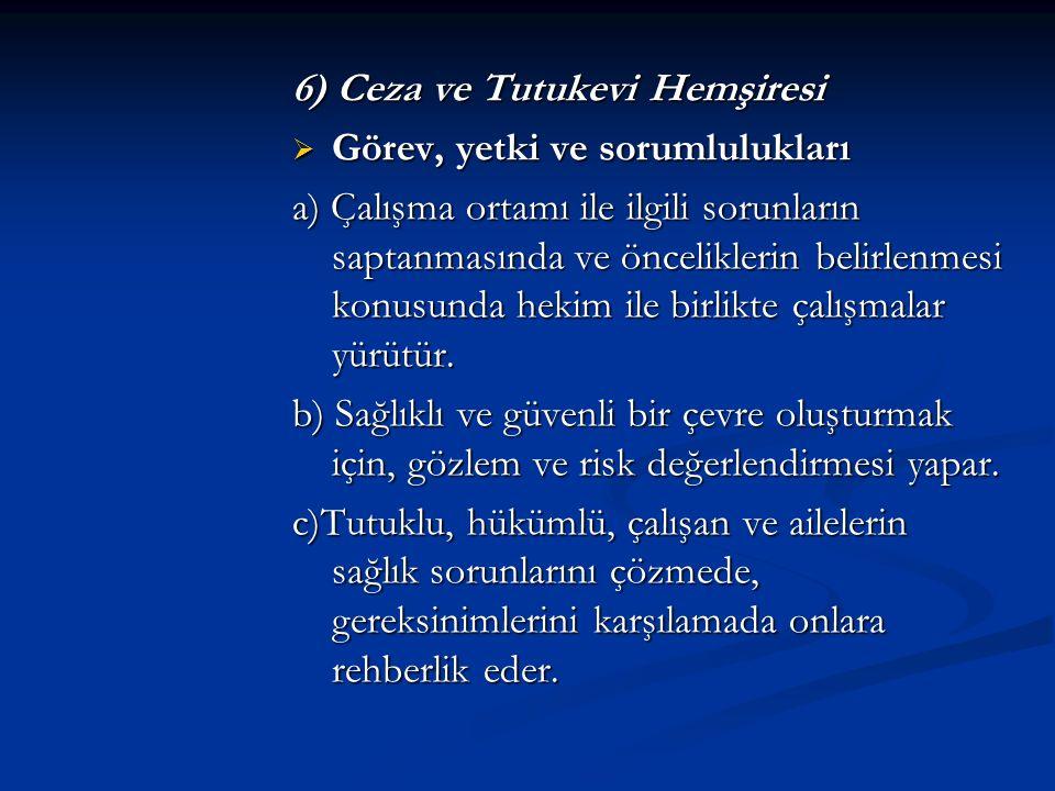 6) Ceza ve Tutukevi Hemşiresi