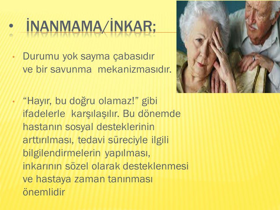 İNANMAMA/İNKAR; Durumu yok sayma çabasıdır ve bir savunma mekanizmasıdır.