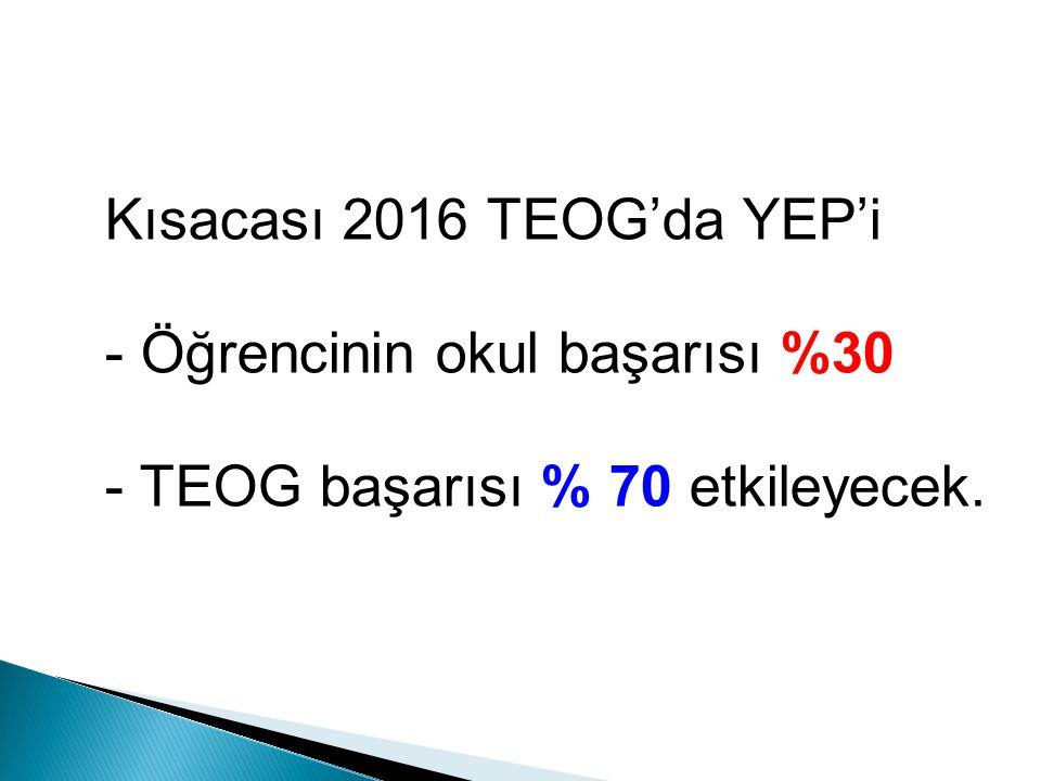 Kısacası 2016 TEOG'da YEP'i