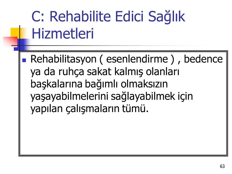 C: Rehabilite Edici Sağlık Hizmetleri
