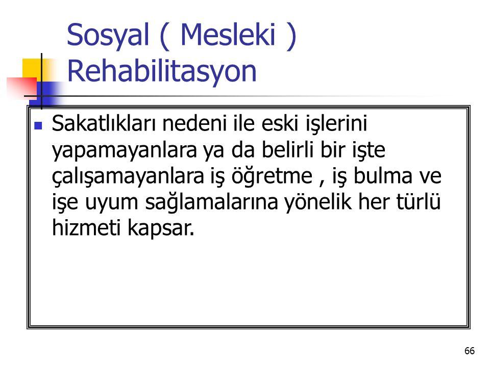 Sosyal ( Mesleki ) Rehabilitasyon
