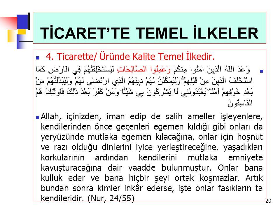 TİCARET'TE TEMEL İLKELER