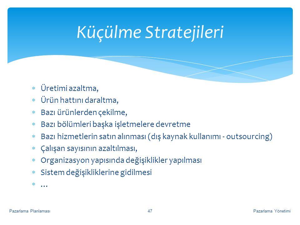 Küçülme Stratejileri Üretimi azaltma, Ürün hattını daraltma,