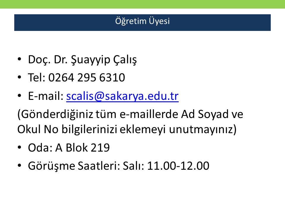 E-mail: scalis@sakarya.edu.tr