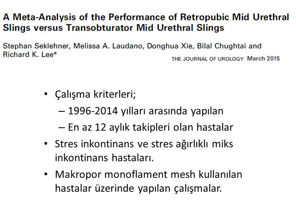 Çalışma kriterleri; 1996-2014 yılları arasında yapılan. En az 12 aylık takipleri olan hastalar.