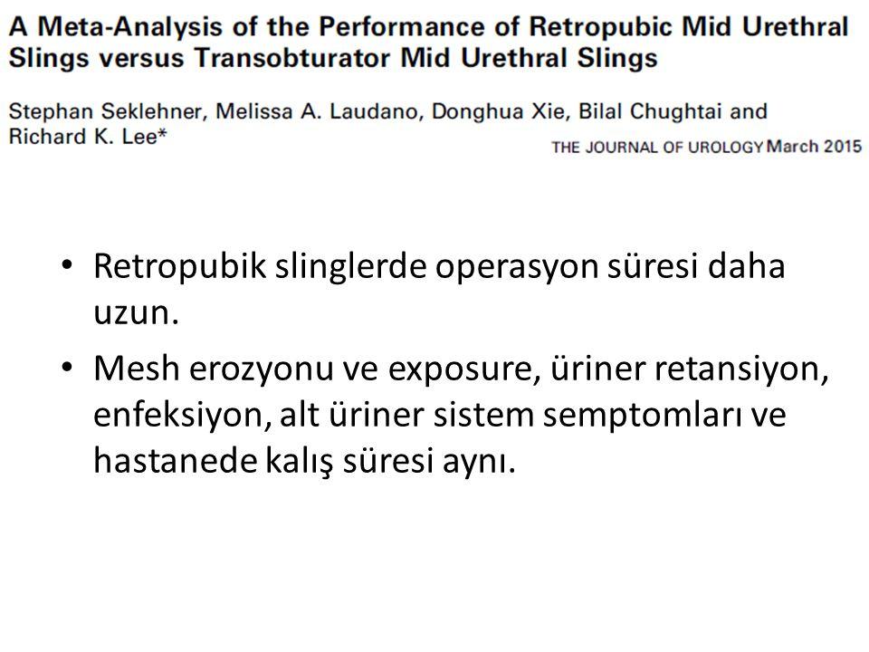 Retropubik slinglerde operasyon süresi daha uzun.