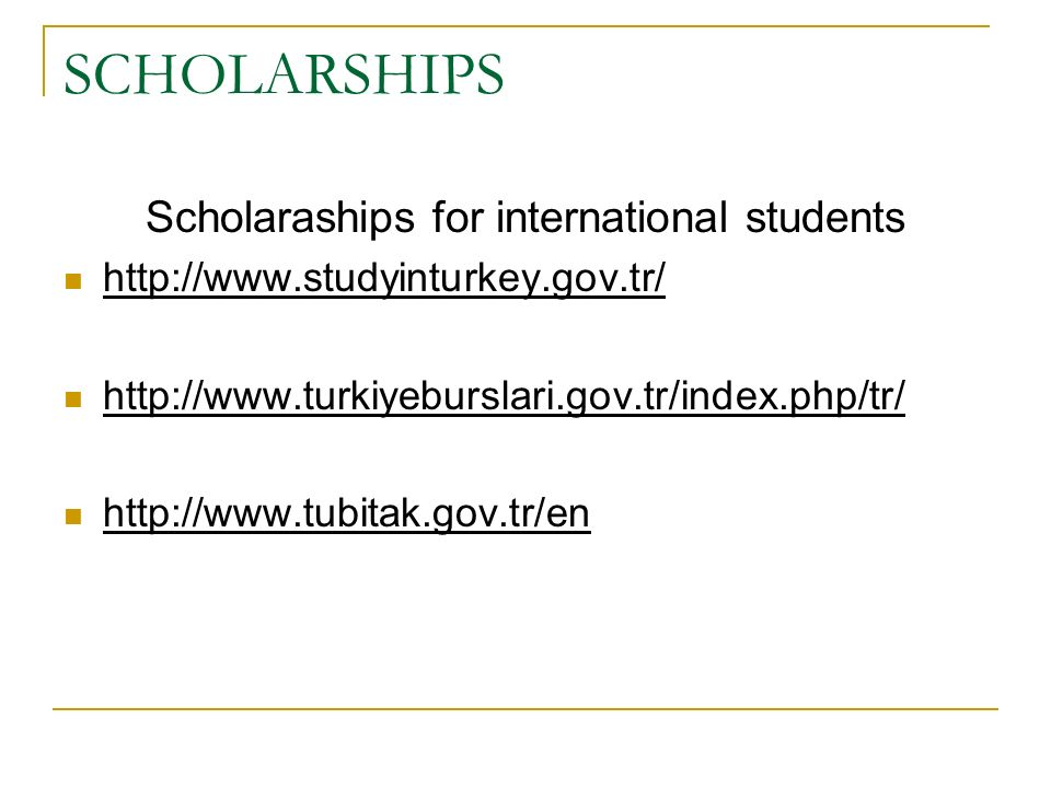 Scholaraships for international students