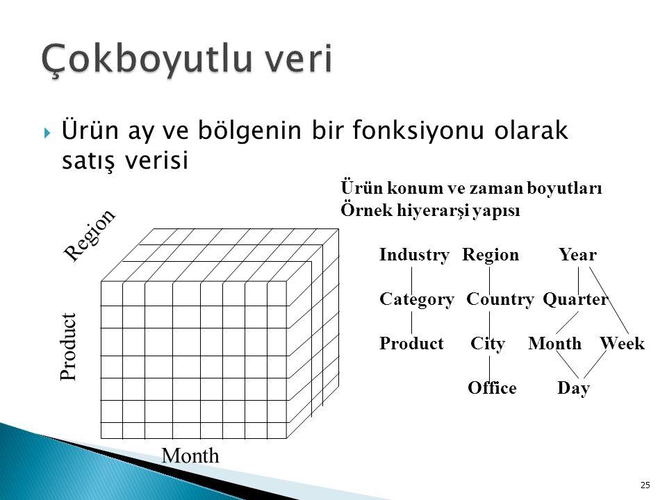 Çokboyutlu veri Ürün ay ve bölgenin bir fonksiyonu olarak satış verisi