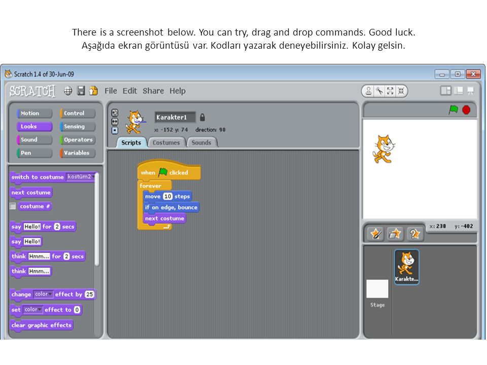 There is a screenshot below. You can try, drag and drop commands