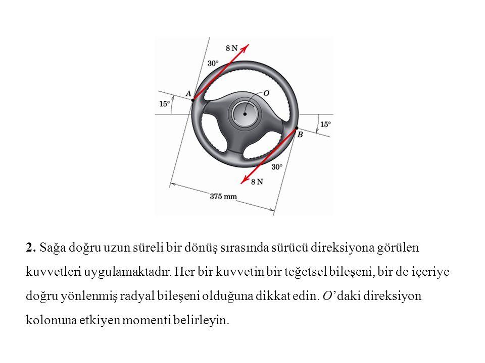 2. Sağa doğru uzun süreli bir dönüş sırasında sürücü direksiyona görülen kuvvetleri uygulamaktadır.