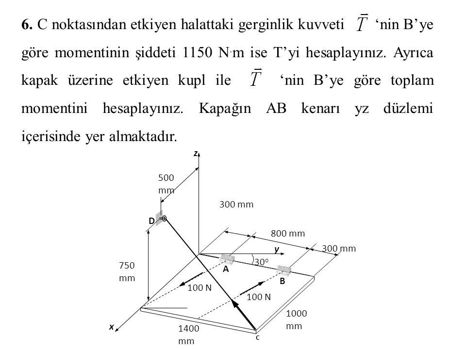 6. C noktasından etkiyen halattaki gerginlik kuvveti 'nin B'ye göre momentinin şiddeti 1150 N.m ise T'yi hesaplayınız. Ayrıca kapak üzerine etkiyen kupl ile 'nin B'ye göre toplam momentini hesaplayınız. Kapağın AB kenarı yz düzlemi içerisinde yer almaktadır.