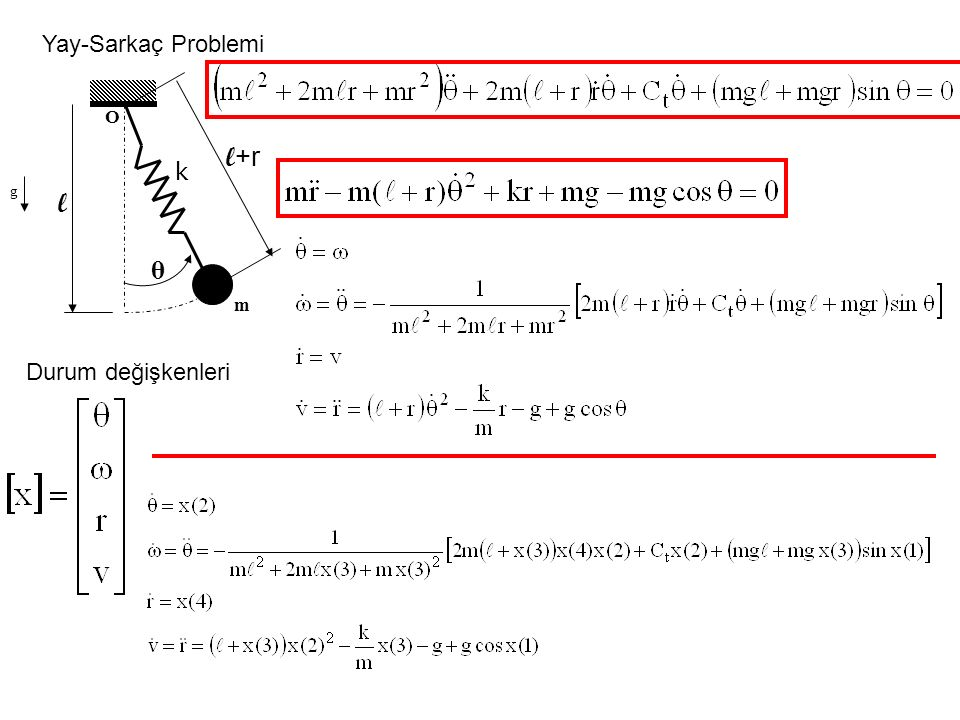 Yay-Sarkaç Problemi g θ O l m l+r k Durum değişkenleri