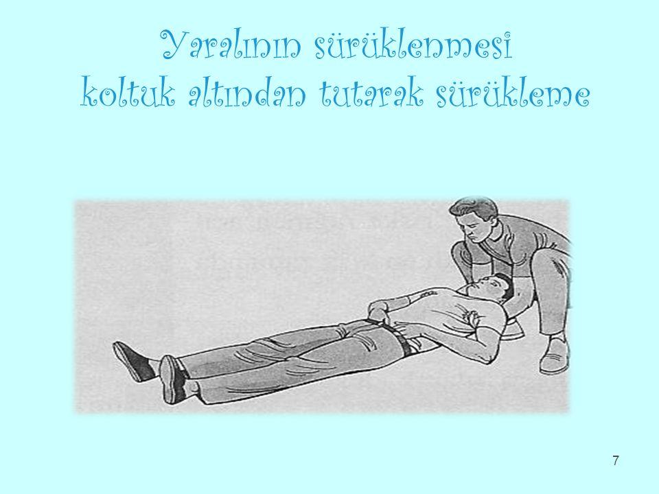 Yaralının sürüklenmesi koltuk altından tutarak sürükleme