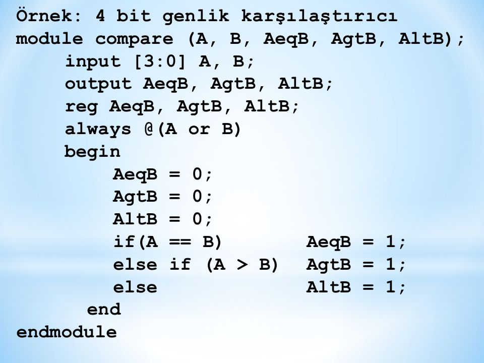 Örnek: 4 bit genlik karşılaştırıcı