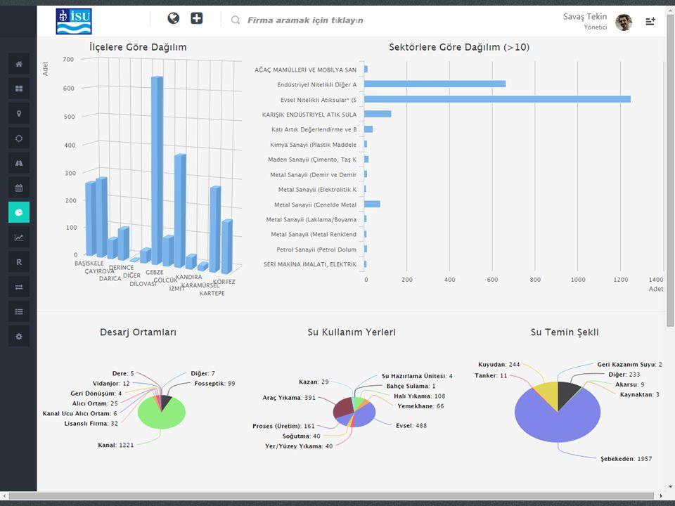 Ekran görülen örnek raporda firmalara ait istatistik raporu görülmektedir. Firmaların hangi ilçelerde bulunduğu hangi sektörlerde yer aldığı.