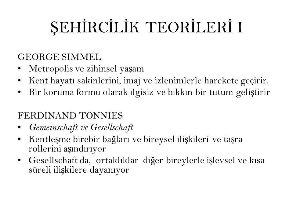 ŞEHİRCİLİK TEORİLERİ I