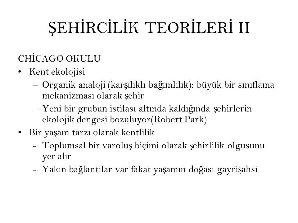 ŞEHİRCİLİK TEORİLERİ II