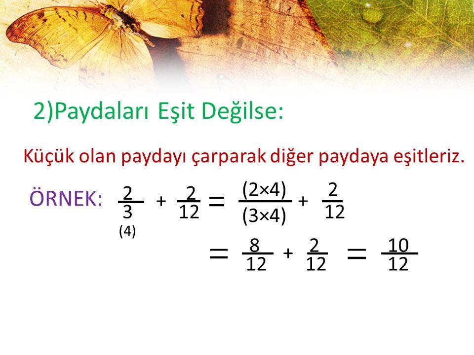 2)Paydaları Eşit Değilse: