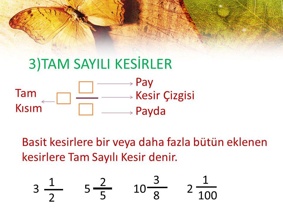 3)TAM SAYILI KESİRLER Pay Tam Kısım Kesir Çizgisi Payda