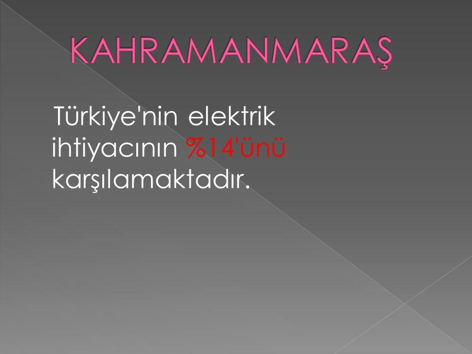 KAHRAMANMARAŞ Türkiye nin elektrik ihtiyacının %14 ünü karşılamaktadır.