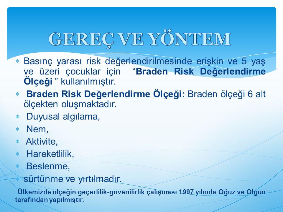 GEREÇ VE YÖNTEM Basınç yarası risk değerlendirilmesinde erişkin ve 5 yaş ve üzeri çocuklar için Braden Risk Değerlendirme Ölçeği kullanılmıştır.