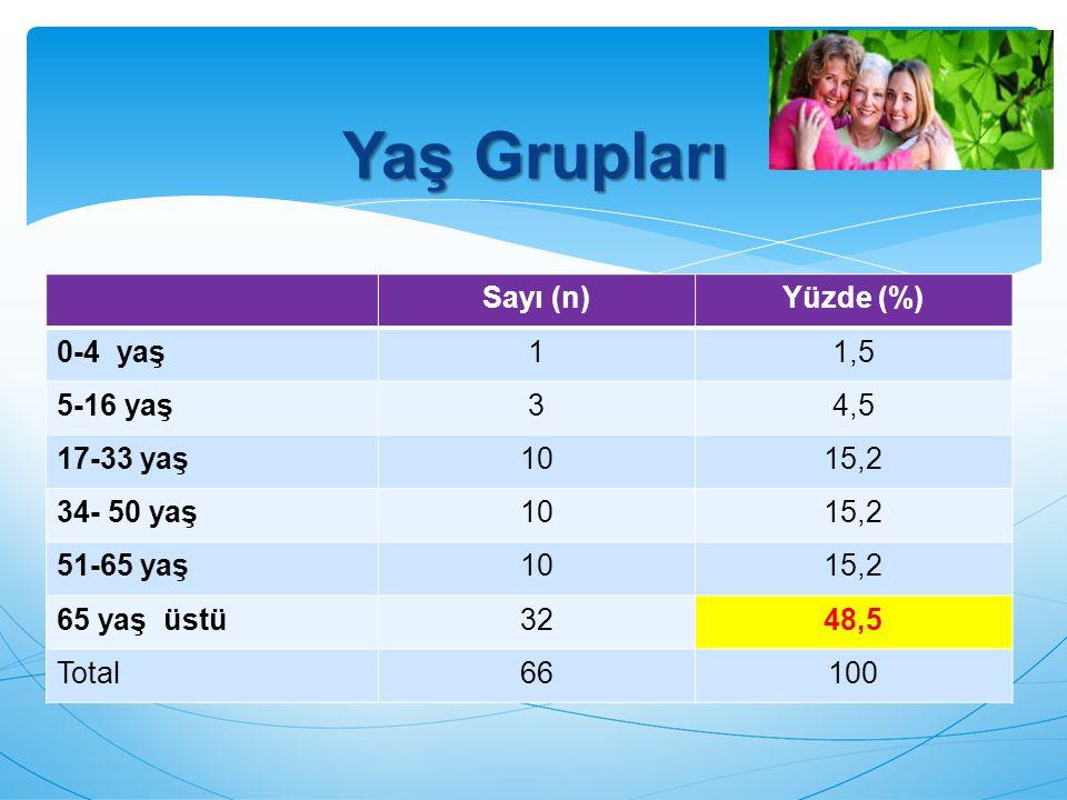 Yaş Grupları Sayı (n) Yüzde (%) 0-4 yaş 1 1,5 5-16 yaş 3 4,5 17-33 yaş