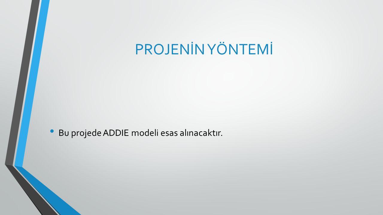 PROJENİN YÖNTEMİ Bu projede ADDIE modeli esas alınacaktır.