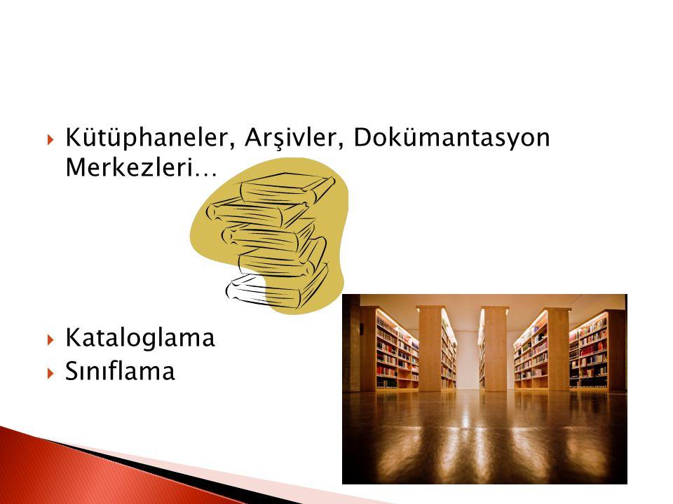 Kütüphaneler, Arşivler, Dokümantasyon Merkezleri…