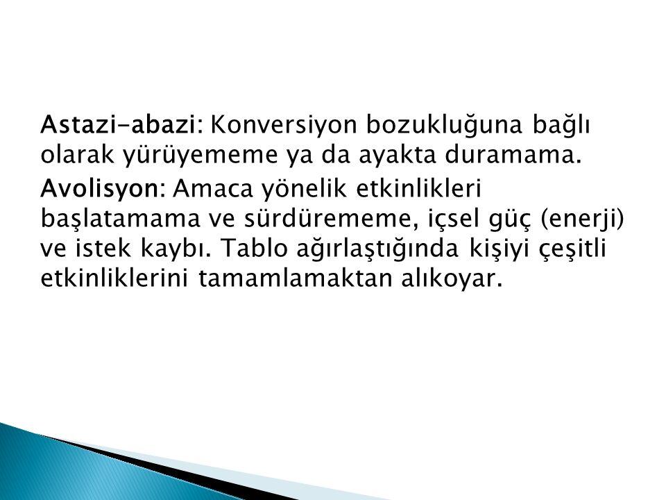 Astazi-abazi: Konversiyon bozukluğuna bağlı olarak yürüyememe ya da ayakta duramama.