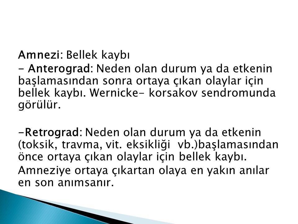 Amnezi: Bellek kaybı - Anterograd: Neden olan durum ya da etkenin başlamasından sonra ortaya çıkan olaylar için bellek kaybı.