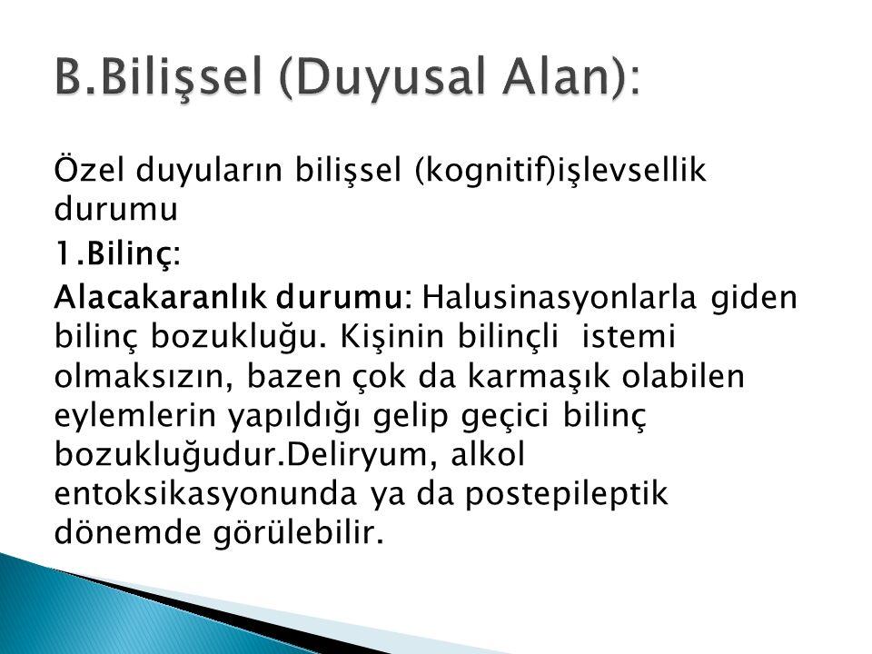 B.Bilişsel (Duyusal Alan):