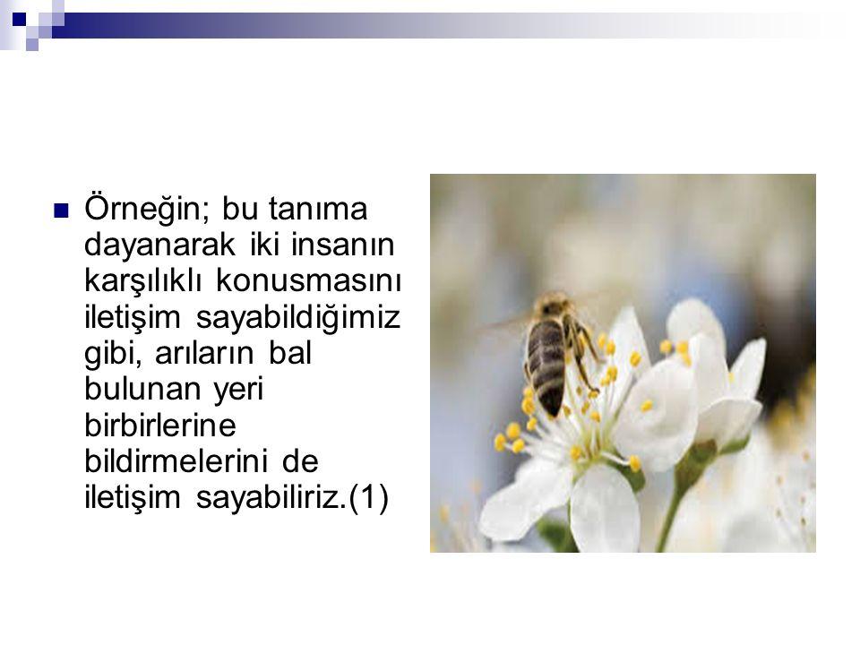 Örneğin; bu tanıma dayanarak iki insanın karşılıklı konusmasını iletişim sayabildiğimiz gibi, arıların bal bulunan yeri birbirlerine bildirmelerini de iletişim sayabiliriz.(1)