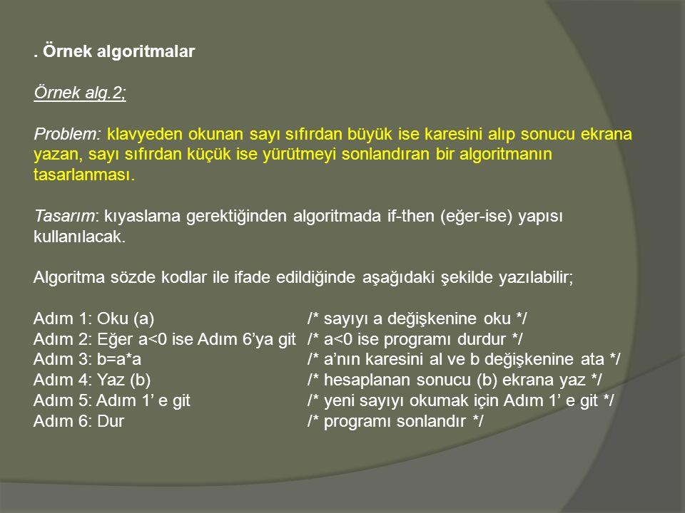 . Örnek algoritmalar Örnek alg.2;