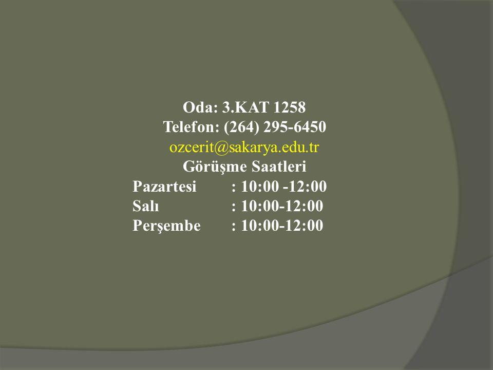 Oda: 3.KAT 1258 Telefon: (264) 295-6450. ozcerit@sakarya.edu.tr. Görüşme Saatleri. Pazartesi : 10:00 -12:00.